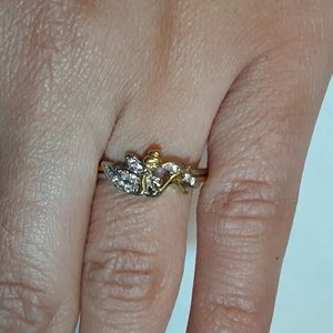 Tinkerbell silver and gold tone ring